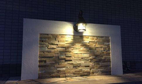 照明付きの門柱
